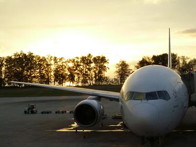 飛行機とサンセット