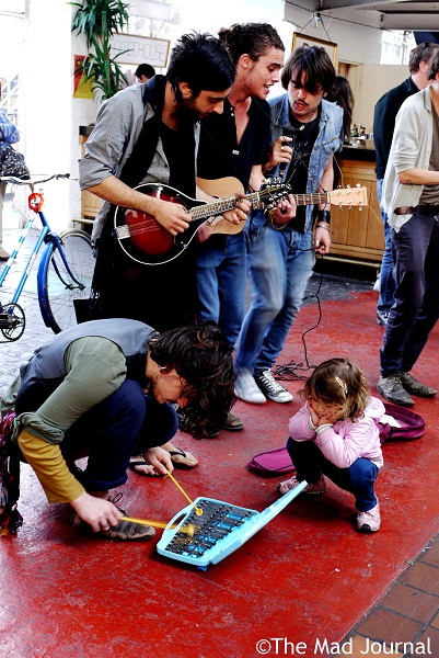 a band with a little girl