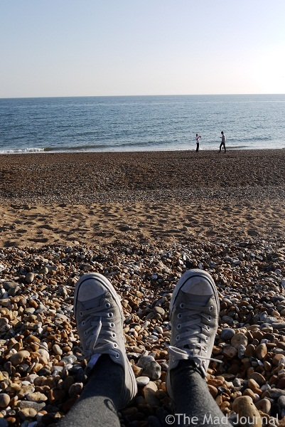 shoes and sea