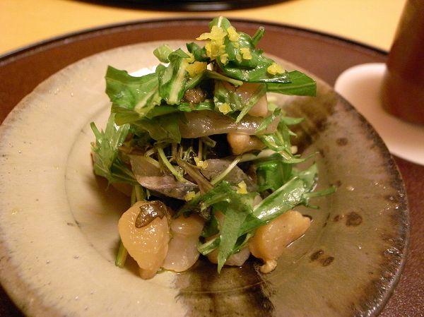 小十 細魚小柱水菜の和え物