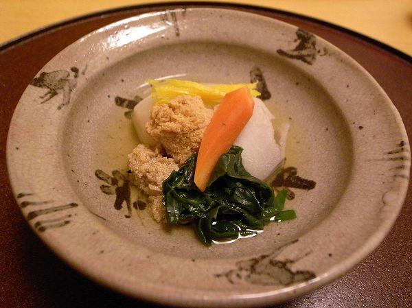 小十 野菜、鱈の子の炊き出し