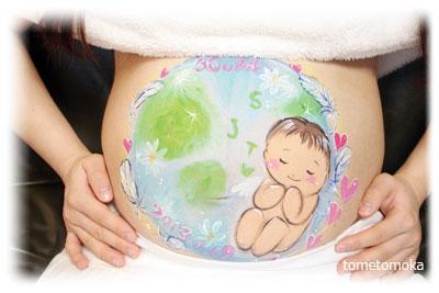 男の子の赤ちゃんと地球 ベリーペイント