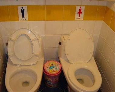 超丸見えトイレで男女洋風トイレが隣りですか:完全無修正写真