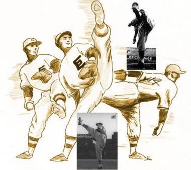 沢村栄治投手の足上げ投法により史上初のノーヒットノーラン達成:完全無修正フリー画像