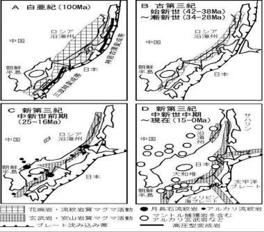 大昔の白亜紀 古第三紀 中新世前期 現在に至るまで日本は中国や朝鮮半島ロシアに隣接していた