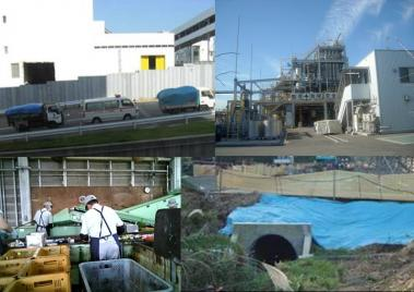 街の産業廃棄物処理場へ産廃物を運ぶ完全無修正デジカメ編集写真