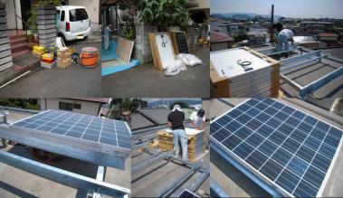 太陽光発電ソーラーパネル設置工事状況完全無修正デジカメ写真