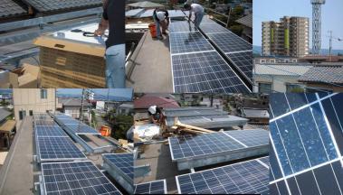 太陽光発電のソーラーパネル設置工事状況写真と近所の分譲マンション完全無修正写真画像