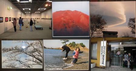 写真展の展示写真で赤富士と自然の造形なる竜巻と氷の競演と波だ逃げろと退場時の写真