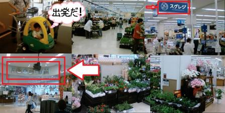 西友の子供乗せ買い物カーに店内の様子に 花も多く販売 無人レジ機のスグレジ 完全無修正携帯電話カメラ写真画像