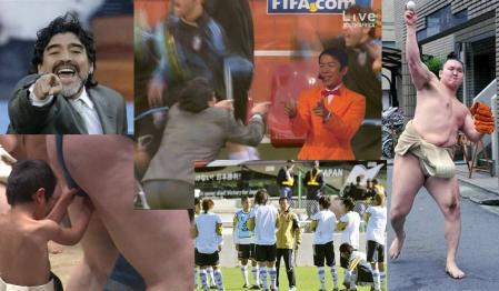 FIFAサッカーW杯で活躍するアルゼンチームのマラドーナ監督の喜びのゲッツ画像で日本の相撲協会 野球賭博問題も忘れられの完全無修正デジカメ編集写真