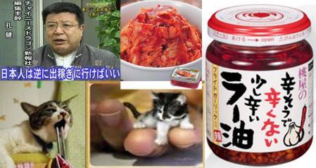 チャイニーズドラゴン新報社編集主幹 孔健 曰く 日本人は逆に出稼ぎに行けばいい との完全無修正写真とキムチ ラー油た猫たち