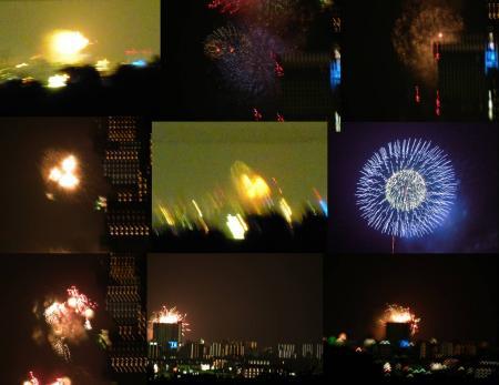 花火大会の燃える様な打ち上げ花火の完全無修正写真