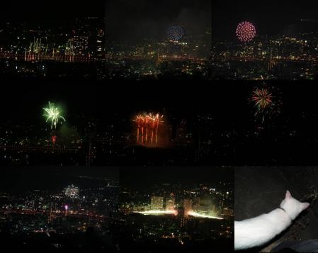 花火大会ラストのナイアガラの滝という名の狩野川を染めた花火の完全無修正写真