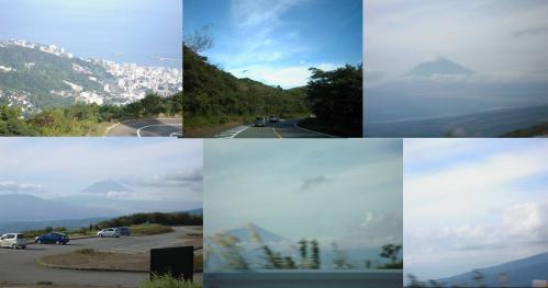伊豆スカイラインの富士山展望台から富士山と熱海市街を撮影