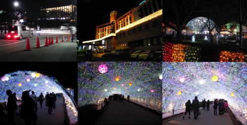 御殿場高原ホテルの時のスミカに入場し鮮やかなクリスマスイルミネーションのトンネルに挿入するデジカメ写真です