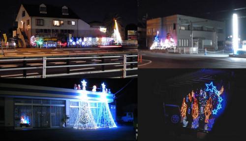裾野市から長泉町の医院や病院や店舗に一般住宅のクリスマスツリーのランプの飾りをデジカメ写真で撮りました