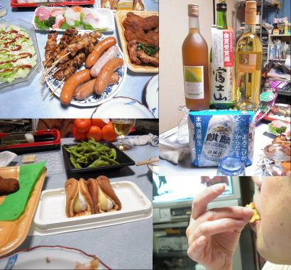 クリスマスパーティー+忘年会の料理に富士山地酒にワインにケーキを食う嫁の写真だわよ
