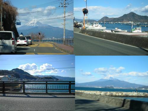 富士山を眺めつつ沼津市西浦の海岸通りをドライブ写真です綺麗な富士山でした