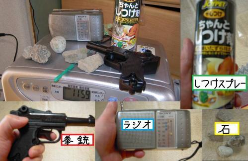 おもしろ写真で野良猫退治作戦の武器には猫のしつけスプレーに拳銃に小型ラジオに石を完備した写真