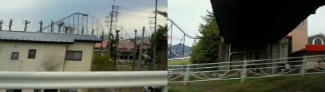 帰りの富士吉田で携帯電話から写した富士急ハイランドの写真