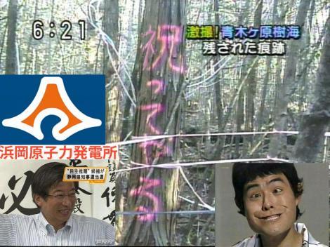 役人ども靜岡県の浜岡原子力発電所中止はいいが警察官も青木ケ原樹海に残された痕跡の様に祝ってやるでは無く呪ってやる