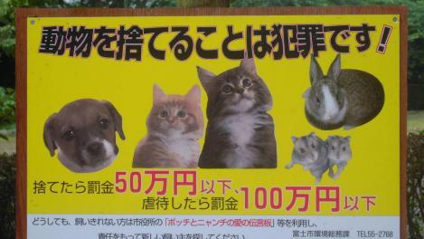 動物を捨てることは犯罪です!捨てたら罰金50万円以下で虐待したら100万円以下の罰金が公園にての看板写真