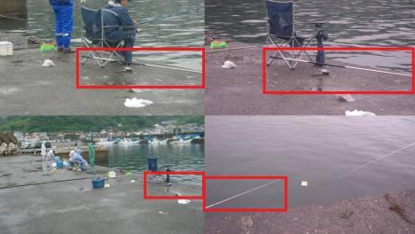 怒り狂う瞬間の写真で海釣り中に隣りの釣り人が黙って釣竿を放置したまま居なくなり竿が邪魔でキレそうになった時の証拠写真