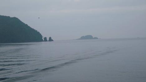 伊東市川奈東防波堤灯台から見える小島とカモメの写真