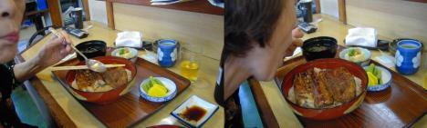 右半身麻痺の母がスプーンで左手でうな重を美味しそうに食べている写真です