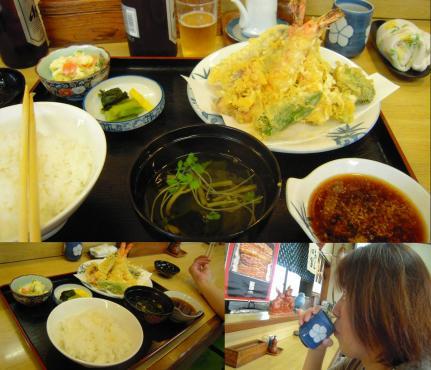 うなぎ屋 いけのや 天ぷら定食を美味しく食べる嫁の写真です