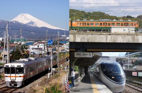 2011 8 2のJR東海道線の静岡県内の富士山と御殿場線の写真
