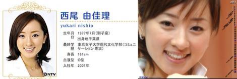 日本テレビの女子アナウンサーの西尾由佳里