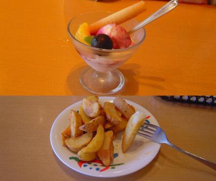 げんこつハンバーグ食後に嫁はデザートアイスを私はフライドポテトを食べる時の写真