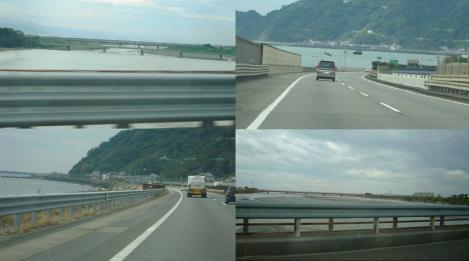 東名高速道路の下り線で靜岡空港へ向かう大井川等を渡り海を見ながらのデジカメ写真