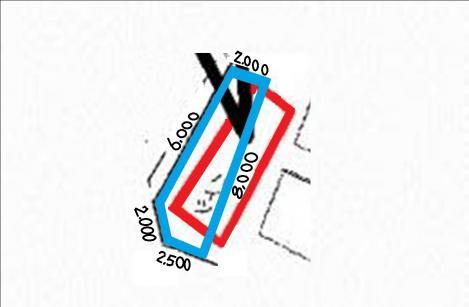 狭く変形した土地に変形コーポ住宅の簡略図面