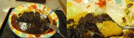 中央高速道路の談合坂サービスエリアで食べた黒カツカレーライスのデジカメ写真