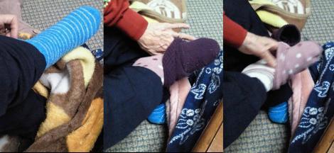 冷え性の母の靴下四枚ばきの加工デジカメ写真