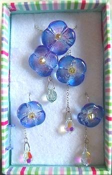 紫陽花のネックレス&ピアス