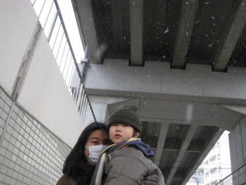 ガード下にも雪が舞い込む