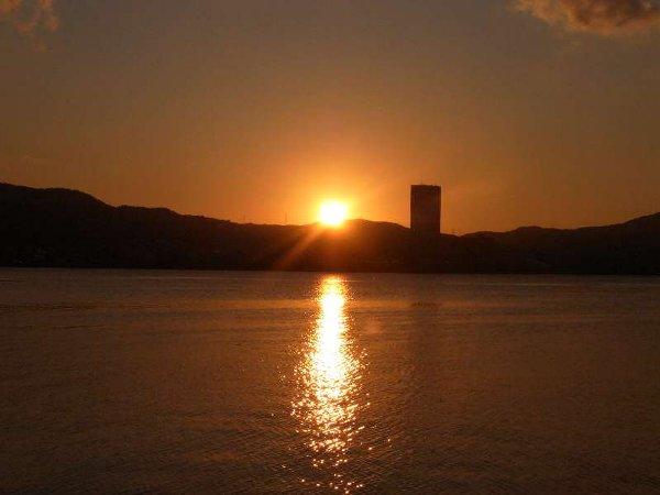 びわ湖の夕照