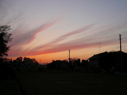 種蒔き後の夕焼け