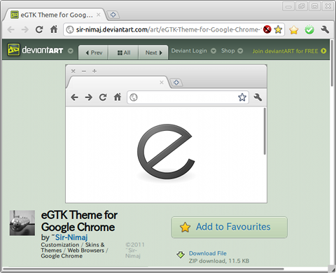 eGTK Theme for Google Chrome テーマ