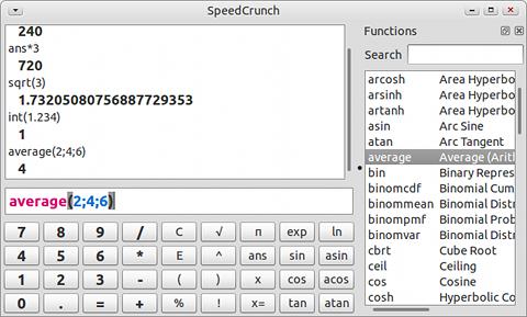 SpeedCrunch Ubuntu 電卓 関数の入力