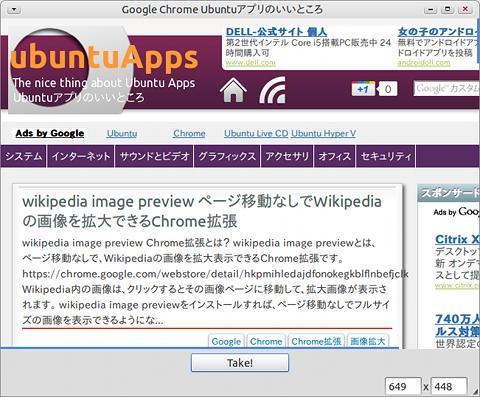 Nanoshot Ubuntu 画面キャプチャ Webページ