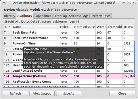 GSmartControl Ubuntu ディスクチェック SMARTデータの確認