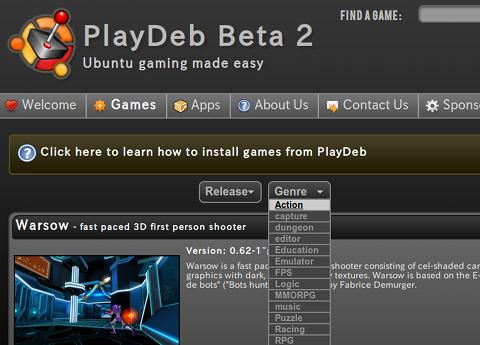 PlayDeb Ubuntu ゲームを検索する