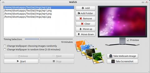 Wallch Ubuntu 壁紙チェンジャー 画像ファイルの選択