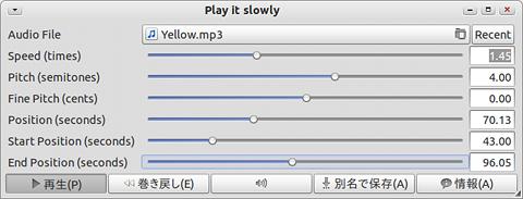 Play it slowly Ubuntu 音楽プレイヤー MP3 再生速度やピッチの変更