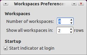 Indicator-Workspaces Ubuntu パネル ワークスペースの切り替え オプション
